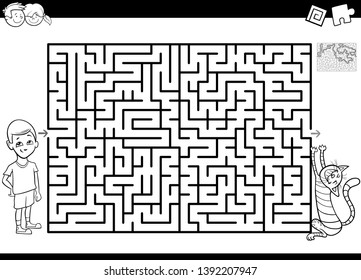 Black and White Cartoon Illustration of Educational Maze or Labyrinth Activity Game for Children with Boy and His Pet Cat Coloring Book