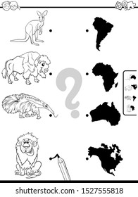 Black and White Cartoon Illustration of Educational Pictures Matching Game for Children with Wild Animals and Continents