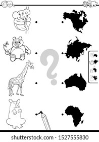 Black and White Cartoon Illustration of Educational Pictures Matching Game for Children with Animals and Continents