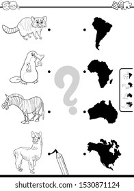 Black and White Cartoon Illustration of Educational Pictures Matching Game for Children with Animals and Continents Shapes