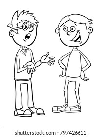Black and White Cartoon Illustration of Elementary School Age or Teenage Boys Characters Talking Coloring Book