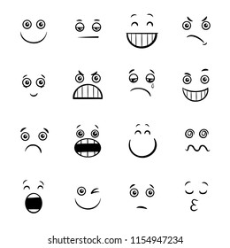 Black and White Cartoon Illustration of Emoticon or Emotions Facial Expression Icons Set
