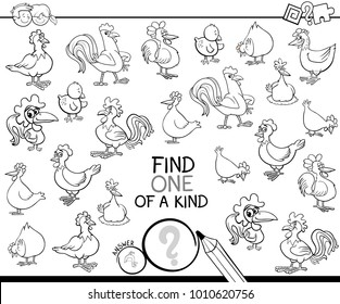 Black and White Cartoon Illustration of Find One of a Kind Picture Educational Activity Game for Children with Chicken Farm Animal Characters Coloring Book