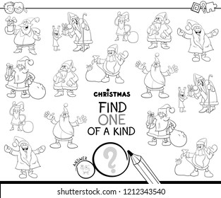 Black and White Cartoon Illustration of Find One of a Kind Picture Educational Game for Kids with Santa Claus Characters Coloring Book