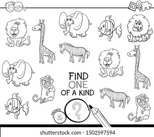 Black and White Cartoon Illustration of Find One of a Kind Picture Educational Activity Game with Animal Characters Coloring Book