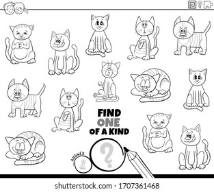 Black and White Cartoon Illustration of Find One of a Kind Picture Educational Game with Funny Cats and Kittens Animal Characters Coloring Book Page