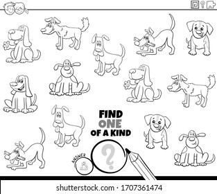 Black and White Cartoon Illustration of Find One of a Kind Picture Educational Game with Dogs and Puppies Animal Characters Coloring Book Page