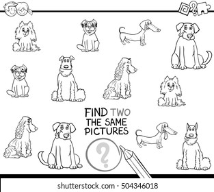Black and White Cartoon Illustration of Find Two Exactly the Same Pictures Educational Activity for Children with Purebred Dogs Coloring Page