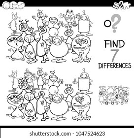 Black and White Cartoon Illustration of Finding Seven Differences Between Pictures Educational Activity Game for Kids with Alien or Monster Characters Group Coloring Book