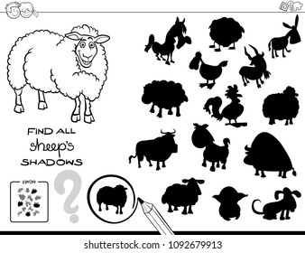 Black and White Cartoon Illustration of Finding All Sheep Shadows Educational Activity for Children Coloring Book