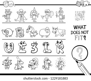 Black and White Cartoon Illustration of Finding Picture that does not Fit in a Row Educational Game with Funny Characters Color Book