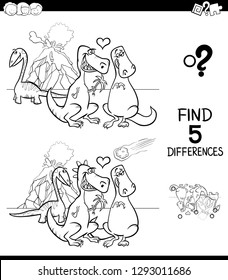 Black and White Cartoon Illustration of Finding Five Differences Between Pictures Educational Game for Children with Dinosaurs in Love Coloring Book