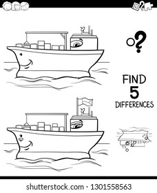 Black and White Cartoon Illustration of Finding Five Differences Between Pictures Educational Game for Children with Container Ship Coloring Book