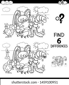 Black and White Cartoon Illustration of Finding Six Differences Between Pictures Educational Game for Children with Funny Insects Characters Coloring Book