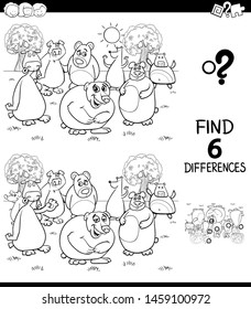 Black and White Cartoon Illustration of Finding Six Differences Between Pictures Educational Game for Children with Bears Animal Characters Coloring Book