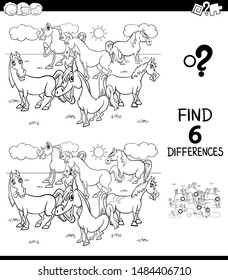 Black and White Cartoon Illustration of Finding Six Differences Between Pictures Educational Game for Children with Horses Animal Characters Coloring Book