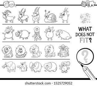 Black and White Cartoon Illustration of Finding Picture that does not Fit in a Row Educational Task for Elementary Age or Preschool Children Coloring Book