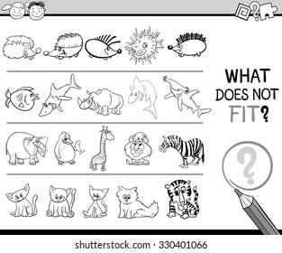 Black and White Cartoon Illustration of Finding Improper Item in the Row Educational Game for Preschool Children with Animal Characters