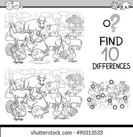 Black and White Cartoon Illustration of Finding Differences Educational Activity Game for Children with Farm Animal Characters Coloring Book