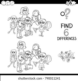 Black and White Cartoon Illustration of Finding Eight Differences Between Pictures Educational Activity Game for Kids with School Children Characters Group Coloring Book