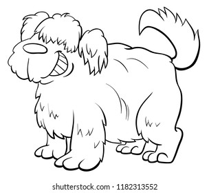 Black and White Cartoon Illustration of Funny Shaggy Sheep Dog Animal Character Coloring Book