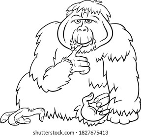 Black and White Cartoon Illustration of Funny Orangutan Ape Wild Animal Character Coloring Book Page