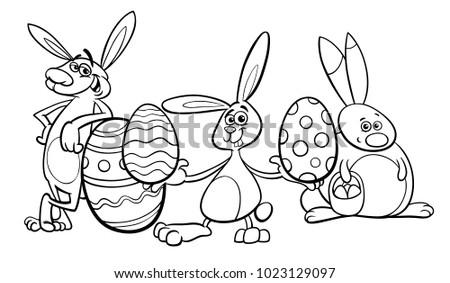 Black White Cartoon Illustration Funny Easter Stockvector