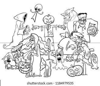 Black and White Cartoon Illustration of Halloween Holiday Spooky Characters Group Coloring Book