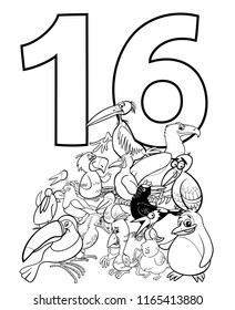 Black and White Cartoon Illustration of Number Sixteen and Bird Characters Group Coloring Book