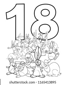 Black and White Cartoon Illustration of Number Eighteen and Rabbit Characters Group Coloring Book