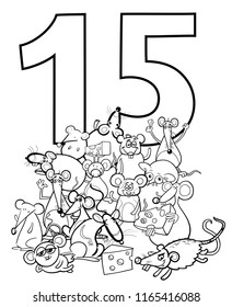 Black and White Cartoon Illustration of Number Fifteen and Mice Characters Group Coloring Book