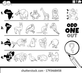 Black and White Cartoon Illustration of Odd One Oute Picture in a Row Educational Game for Elementary Age or Preschool Children with Animal Species from different Continents Coloring Book Page