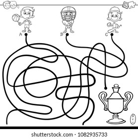 Black and White Cartoon Illustration of Paths or Maze Puzzle Activity Game with Kid Boy and Sports Coloring Book