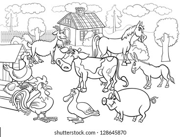 farm coloring pages stock images