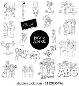 Black and White Cartoon Illustration of School and Education Characters and Situations Large Set