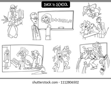 Black and White Cartoon Illustration of School and Education Characters and Situations Set