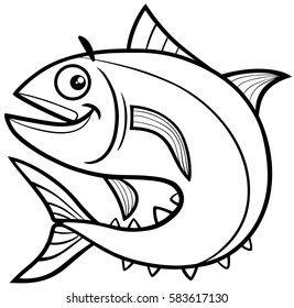 Black and White Cartoon Illustration of Tuna Fish Sea Life Animal Character Coloring Page