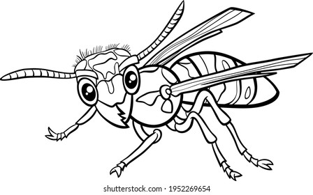 Black and white cartoon illustration of yellowjacket or wasp insect animal character coloring book page