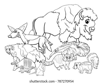Black and White Cartoon Illustrations of American Animal Characters Group Coloring Book