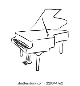 Black and white cartoon piano. Vector coloring sketch.
