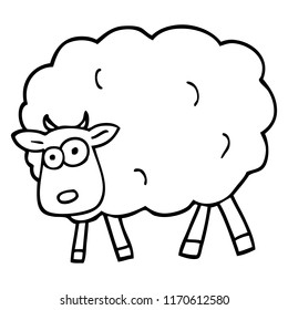 black and white cartoon sheep