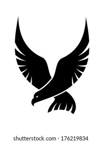 Black and white cartoon swooping falcon logo with outspread wings coming in to catch its prey, isolated on white