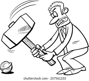 Black and White Cartoon Vector Humor Concept Illustration of Sledgehammer to Crack a Nut Saying or Proverb