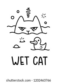 A Black And White Cartoon Vector Illustration Of A Wet Cat Being Bathed