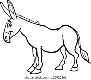 Black and White Cartoon Vector Illustration of Funny Donkey Farm Animal for Coloring Book