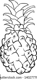 Black and White Cartoon Vector Illustration of Pineapple Fruit Food Object for Coloring Book