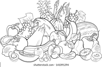 Black and White Cartoon Vector Illustration of Fruits and Vegetables Big Group Food Design for Coloring Book