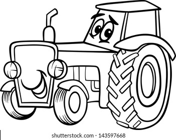 Black and White Cartoon Vector Illustration of Funny Farm Tractor Vehicle Comic Mascot Character for Children to Coloring Book