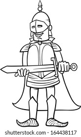 Black and White Cartoon Vector Illustration of Knight in Armor with Sword for Coloring Book