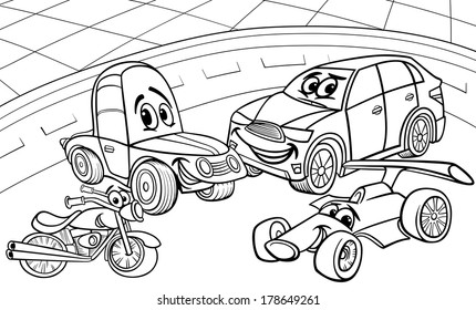 Black and White Cartoon Vector Illustration of Funny Cars and Vehicles Comic Characters Group for Coloring Book